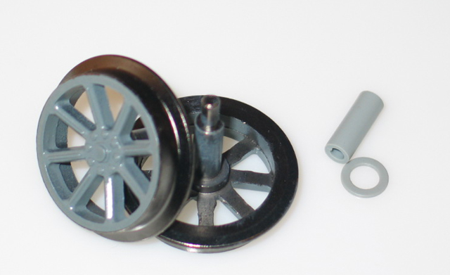 Wheels w/axle [Handcar & Trailer] - (Large Scale)